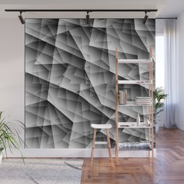 Monochrome pattern of chaotic black and white glass fragments, irregular cubic figures and ice floes Wall Mural