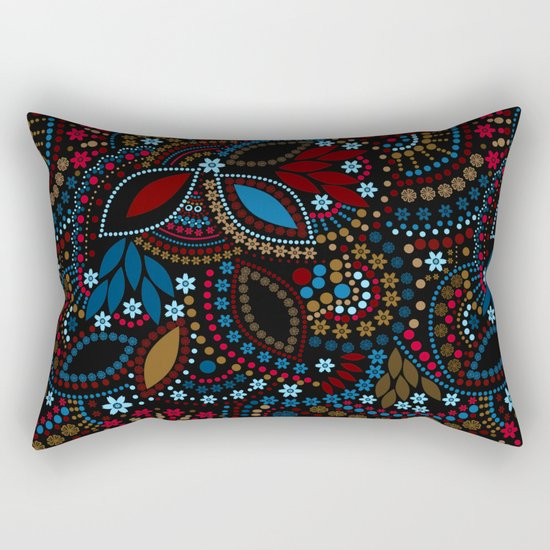 Scattering beads . Black background Country . Rectangular Pillow