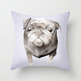 Pug Pup Watercolor Dog Painting Throw Pillow
