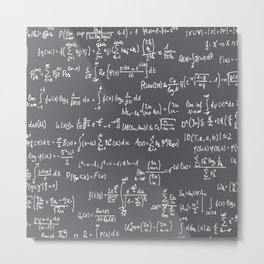 Math Equations // Charcoal Metal Print