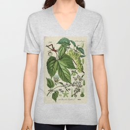 Humulus lupulus (common hop or hops) - Vintage botanical illustration Unisex V-Neck