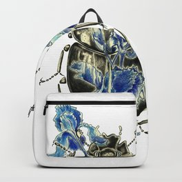Beetle in blue irises Backpack