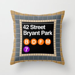 subway bryant park sign Throw Pillow