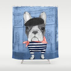 Frenchie with Arc de Triomphe Shower Curtain