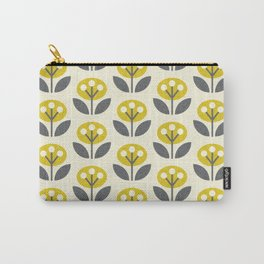 Mod Flowers in textured yellow and gray ©studioxtine Carry-All Pouch