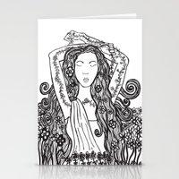 mythology Stationery Cards featuring Anthousai (Greek mythology flower nymph) by Caroline W Illustration