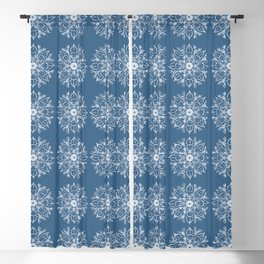 White Lobster Flower Mandala Lines Pattern Blackout Curtain