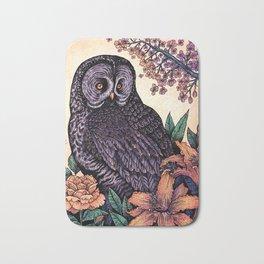 Great Grey Owl At Sunset Bath Mat