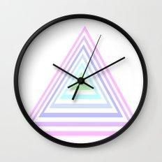 pastel rainbow triangles Wall Clock
