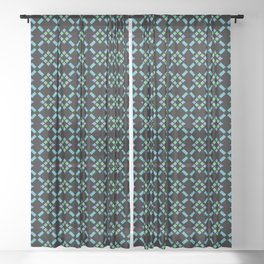 ABBEY midnight blue & emerald green & turquoise & perwinkle Sheer Curtain