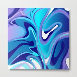 Liquify in Turquoise, Lavender, Purple, Navy Metal Print