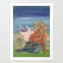 POKER OF CATS Art Print
