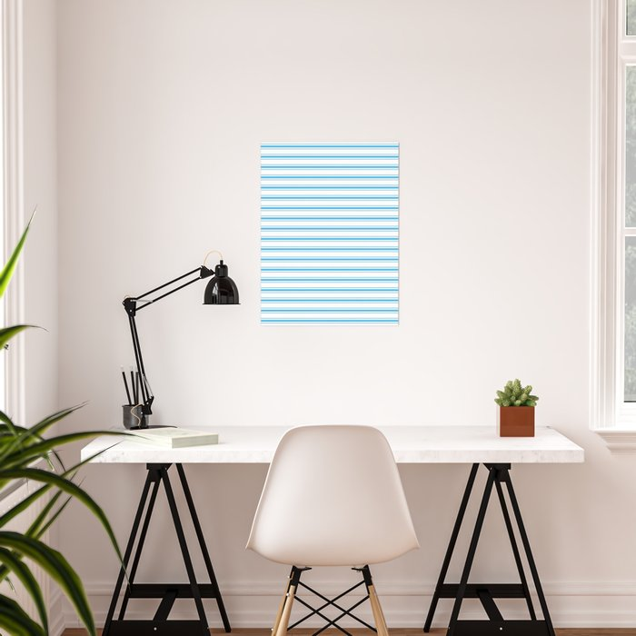 Oktoberfest Bavarian Blue and White Large Mattress Ticking Stripes Poster