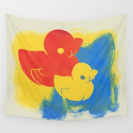 Rubber Duck Monoprint Wall Tapestry