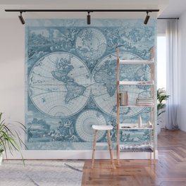 Antique Blue Map Wall Mural