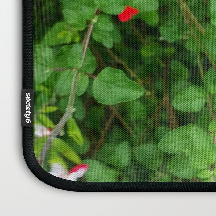 Red and White Park Flowers Laptop Sleeve