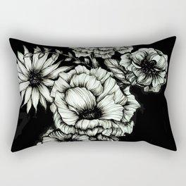 Black Floral Ink III Rectangular Pillow