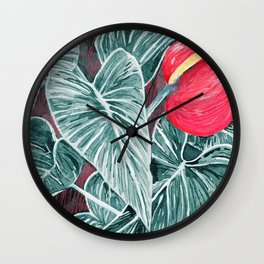 Pop Anthurium Leafs and Flowers Wall Clock