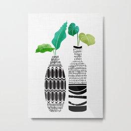 Tribal Vases II with Tropical Greenery Metal Print
