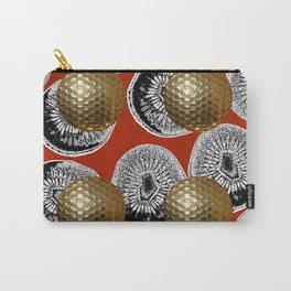 RED PATTERN GOLD GOLF BALLS Carry-All Pouch