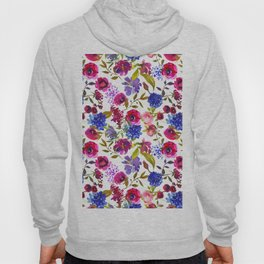 Magenta pink navy blue lilac watercolor floral Hoody