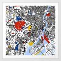 tokyo Art Prints featuring Tokyo by Mondrian Maps