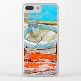 A boat that was washed ashore on Ageon Sea, decaying in the sun. Clear iPhone Case