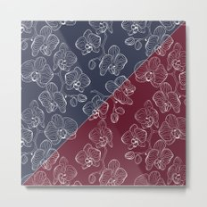 Retro . Orchid flowers on a red and blue background . The combined pattern . Metal Print