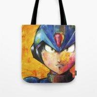 megaman Tote Bags featuring Megaman by Jhaiku