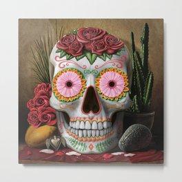 Flora - Sugar Skull with Cactus, Red Roses, Avocado and Papaya Metal Print