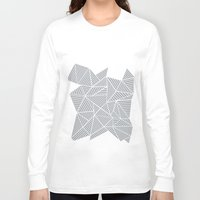 psych Long Sleeve T-shirts featuring Abstract Mountain Grey by Project M