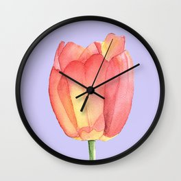 red and yellow single tulip with lilac background Wall Clock