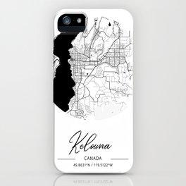 Kelowna Area City Map, Kelowna Circle City Maps Print, Kelowna Black Water City Maps iPhone Case