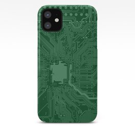 Green Geek Motherboard Circuit Pattern iPhone Case