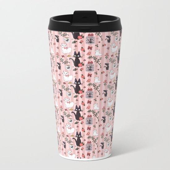 Jiji Cat Pattern Metal Travel Mug