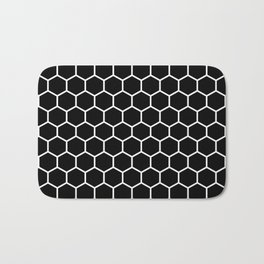 Honeycomb (White & Black Pattern) Bath Mat