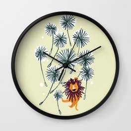 Lion on dandelion Wall Clock