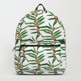 Forest green red watercolor hand painted berries leaves Backpack