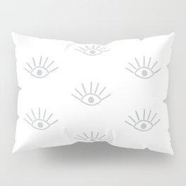 Light Grey Evil Eye Pattern Pillow Sham