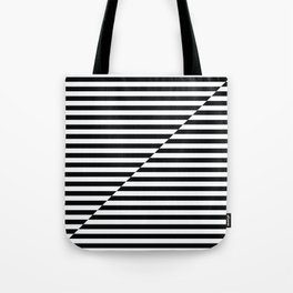 op art - inverted black and white stripes Tote Bag