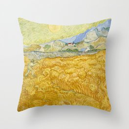 "Vincent van Gogh ""Wheat Field behind Saint Paul Hospital with a Reaper"" Throw Pillow"