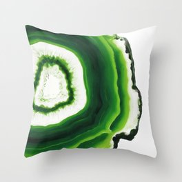 Green Agate Geode slice Throw Pillow