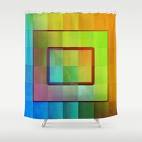 aperture Shower Curtains featuring Aperture #3 Vibrant Fractal Pleat Texture Design by CAP Artwork & Design