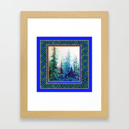 WESTERN  BLUE FOREST WATER COLOR TEAL PATTERN ART Framed Art Print