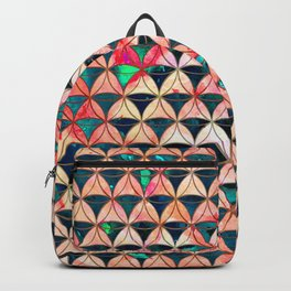 Diamond Pattern Flower-of-Life Paint Backpack