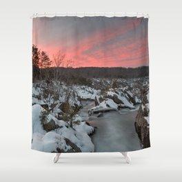 Great Falls Winter Twilight Shower Curtain
