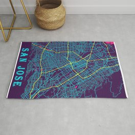 San Jose Neon City Map, San Jose Minimalist City Map Rug