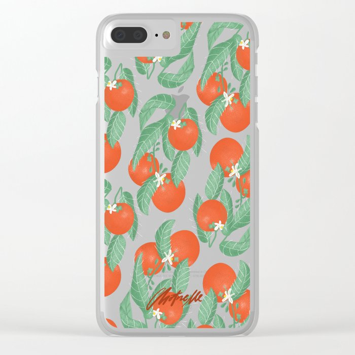 Orange Pattern Clear iPhone Case