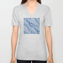 Azure Blue Marble on Marshmallow Cream Unisex V-Neck