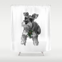 schnauzer Shower Curtains featuring Christmas Schnauzer by RsDesigns